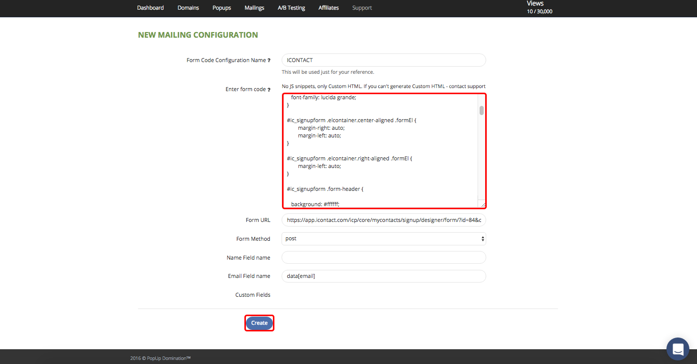 iContact Form Code – PopUp Domination Documentation
